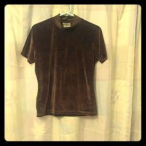 Brown velvet short sleeve blouse